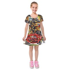 Flower Art Traditional Kids  Short Sleeve Velvet Dress