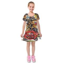 Flower Art Traditional Kids  Short Sleeve Velvet Dress