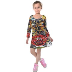 Flower Art Traditional Kids  Long Sleeve Velvet Dress
