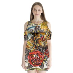 Flower Art Traditional Shoulder Cutout Velvet  One Piece