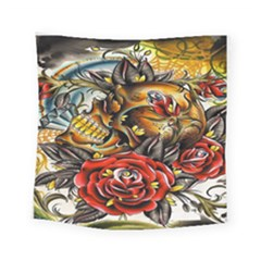 Flower Art Traditional Square Tapestry (small)