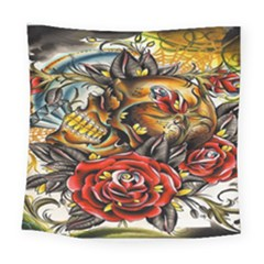 Flower Art Traditional Square Tapestry (large)