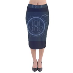 Minimalistic Knowledge Mathematics Trigonometry Velvet Midi Pencil Skirt