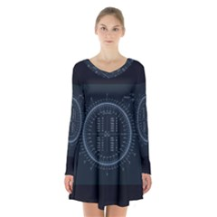 Minimalistic Knowledge Mathematics Trigonometry Long Sleeve Velvet V Neck Dress
