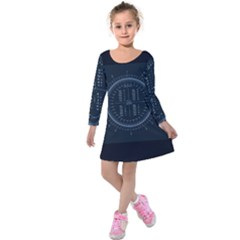 Minimalistic Knowledge Mathematics Trigonometry Kids  Long Sleeve Velvet Dress