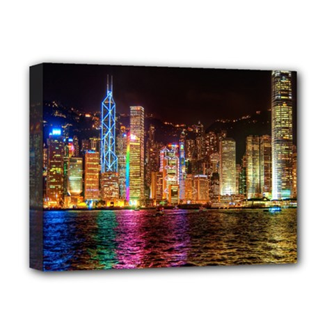 Light Water Cityscapes Night Multicolor Hong Kong Nightlights Deluxe Canvas 16  X 12