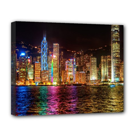 Light Water Cityscapes Night Multicolor Hong Kong Nightlights Deluxe Canvas 20  X 16