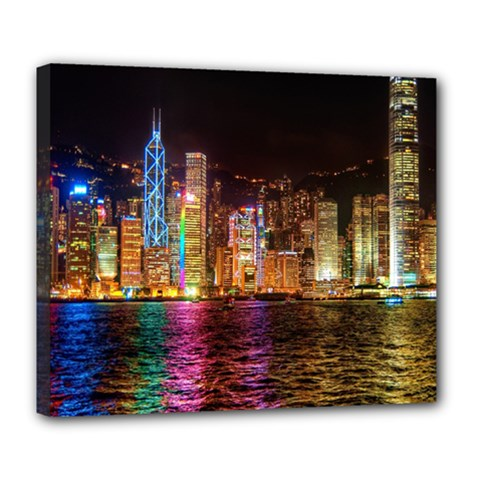 Light Water Cityscapes Night Multicolor Hong Kong Nightlights Deluxe Canvas 24  X 20