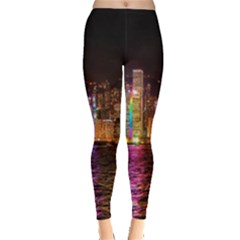 Light Water Cityscapes Night Multicolor Hong Kong Nightlights Leggings