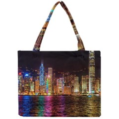 Light Water Cityscapes Night Multicolor Hong Kong Nightlights Mini Tote Bag