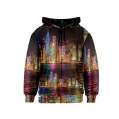 Light Water Cityscapes Night Multicolor Hong Kong Nightlights Kids  Zipper Hoodie