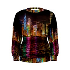 Light Water Cityscapes Night Multicolor Hong Kong Nightlights Women s Sweatshirt