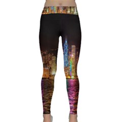 Light Water Cityscapes Night Multicolor Hong Kong Nightlights Classic Yoga Leggings