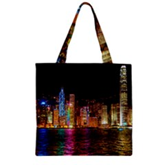 Light Water Cityscapes Night Multicolor Hong Kong Nightlights Zipper Grocery Tote Bag