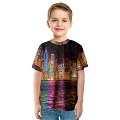 Light Water Cityscapes Night Multicolor Hong Kong Nightlights Kids  Sport Mesh Tee