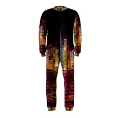Light Water Cityscapes Night Multicolor Hong Kong Nightlights OnePiece Jumpsuit (Kids)