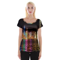 Light Water Cityscapes Night Multicolor Hong Kong Nightlights Women s Cap Sleeve Top