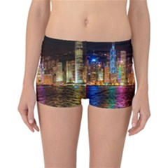 Light Water Cityscapes Night Multicolor Hong Kong Nightlights Reversible Bikini Bottoms