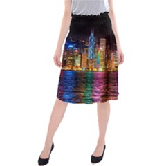 Light Water Cityscapes Night Multicolor Hong Kong Nightlights Midi Beach Skirt