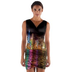 Light Water Cityscapes Night Multicolor Hong Kong Nightlights Wrap Front Bodycon Dress