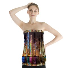 Light Water Cityscapes Night Multicolor Hong Kong Nightlights Strapless Top