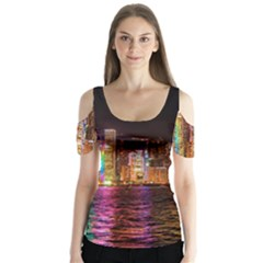 Light Water Cityscapes Night Multicolor Hong Kong Nightlights Butterfly Sleeve Cutout Tee