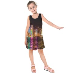 Light Water Cityscapes Night Multicolor Hong Kong Nightlights Kids  Sleeveless Dress