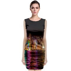 Light Water Cityscapes Night Multicolor Hong Kong Nightlights Sleeveless Velvet Midi Dress