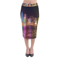 Light Water Cityscapes Night Multicolor Hong Kong Nightlights Velvet Midi Pencil Skirt