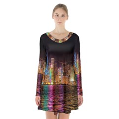 Light Water Cityscapes Night Multicolor Hong Kong Nightlights Long Sleeve Velvet V Neck Dress