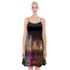 Light Water Cityscapes Night Multicolor Hong Kong Nightlights Spaghetti Strap Velvet Dress