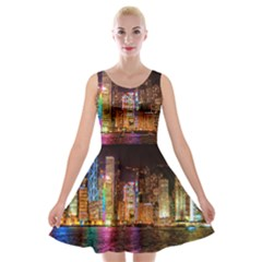 Light Water Cityscapes Night Multicolor Hong Kong Nightlights Velvet Skater Dress