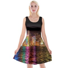 Light Water Cityscapes Night Multicolor Hong Kong Nightlights Reversible Velvet Sleeveless Dress