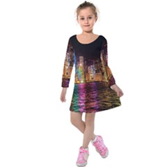 Light Water Cityscapes Night Multicolor Hong Kong Nightlights Kids  Long Sleeve Velvet Dress