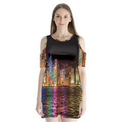 Light Water Cityscapes Night Multicolor Hong Kong Nightlights Shoulder Cutout Velvet  One Piece