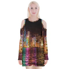 Light Water Cityscapes Night Multicolor Hong Kong Nightlights Velvet Long Sleeve Shoulder Cutout Dress