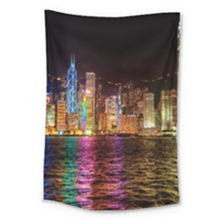 Light Water Cityscapes Night Multicolor Hong Kong Nightlights Large Tapestry