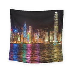 Light Water Cityscapes Night Multicolor Hong Kong Nightlights Square Tapestry (Small)