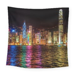 Light Water Cityscapes Night Multicolor Hong Kong Nightlights Square Tapestry (Large)