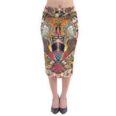 Hail Fine Art Print Velvet Midi Pencil Skirt