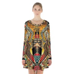 Hail Fine Art Print Long Sleeve Velvet V Neck Dress