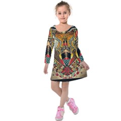 Hail Fine Art Print Kids  Long Sleeve Velvet Dress