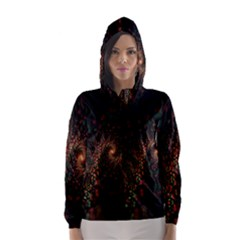 Multicolor Fractals Digital Art Design Hooded Wind Breaker (Women)