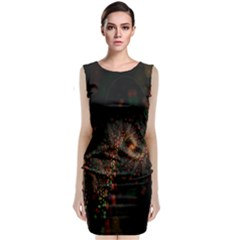 Multicolor Fractals Digital Art Design Sleeveless Velvet Midi Dress