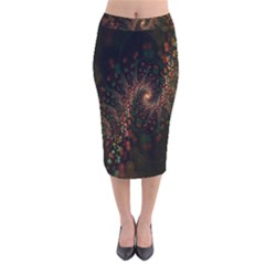 Multicolor Fractals Digital Art Design Velvet Midi Pencil Skirt