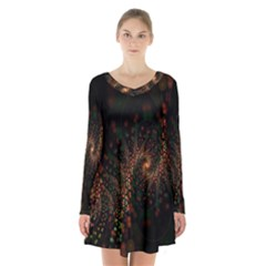 Multicolor Fractals Digital Art Design Long Sleeve Velvet V Neck Dress