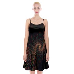 Multicolor Fractals Digital Art Design Spaghetti Strap Velvet Dress