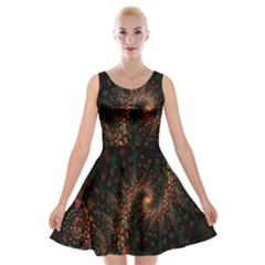 Multicolor Fractals Digital Art Design Velvet Skater Dress
