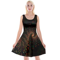 Multicolor Fractals Digital Art Design Reversible Velvet Sleeveless Dress