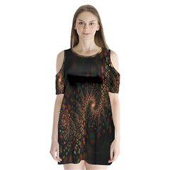 Multicolor Fractals Digital Art Design Shoulder Cutout Velvet  One Piece
